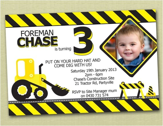 construction themed birthday invitations print