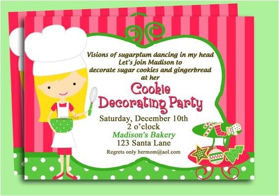 christmas cookie invitation printable or