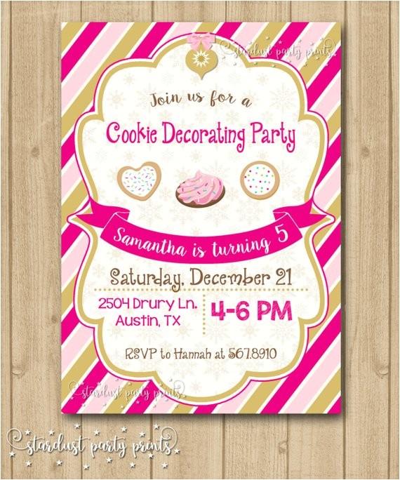 cookie decorating birthday invitation