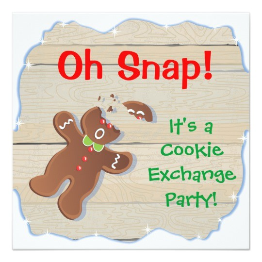 oh snap christmas cookie exchange party invitation 161237417915079582