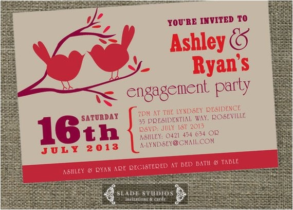 love birds engagement party invitation