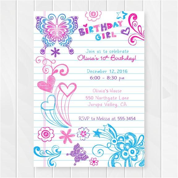 notebook doodles tween birthday invitation girl birthday invitations teenage party invites sweet sixteen birthday party printable 0202