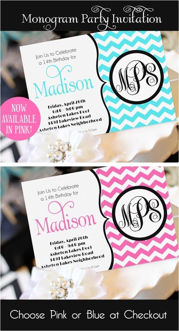 teen girl birthday invitation monogram
