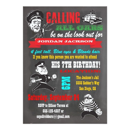 chalkboard cops and robbers party invitation 161709044389360892