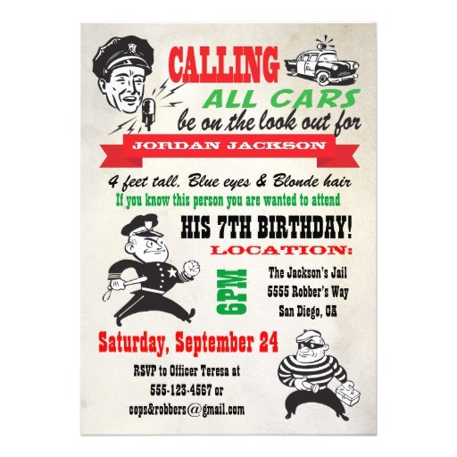 cops and robbers birthday party invitation 161230699520546687