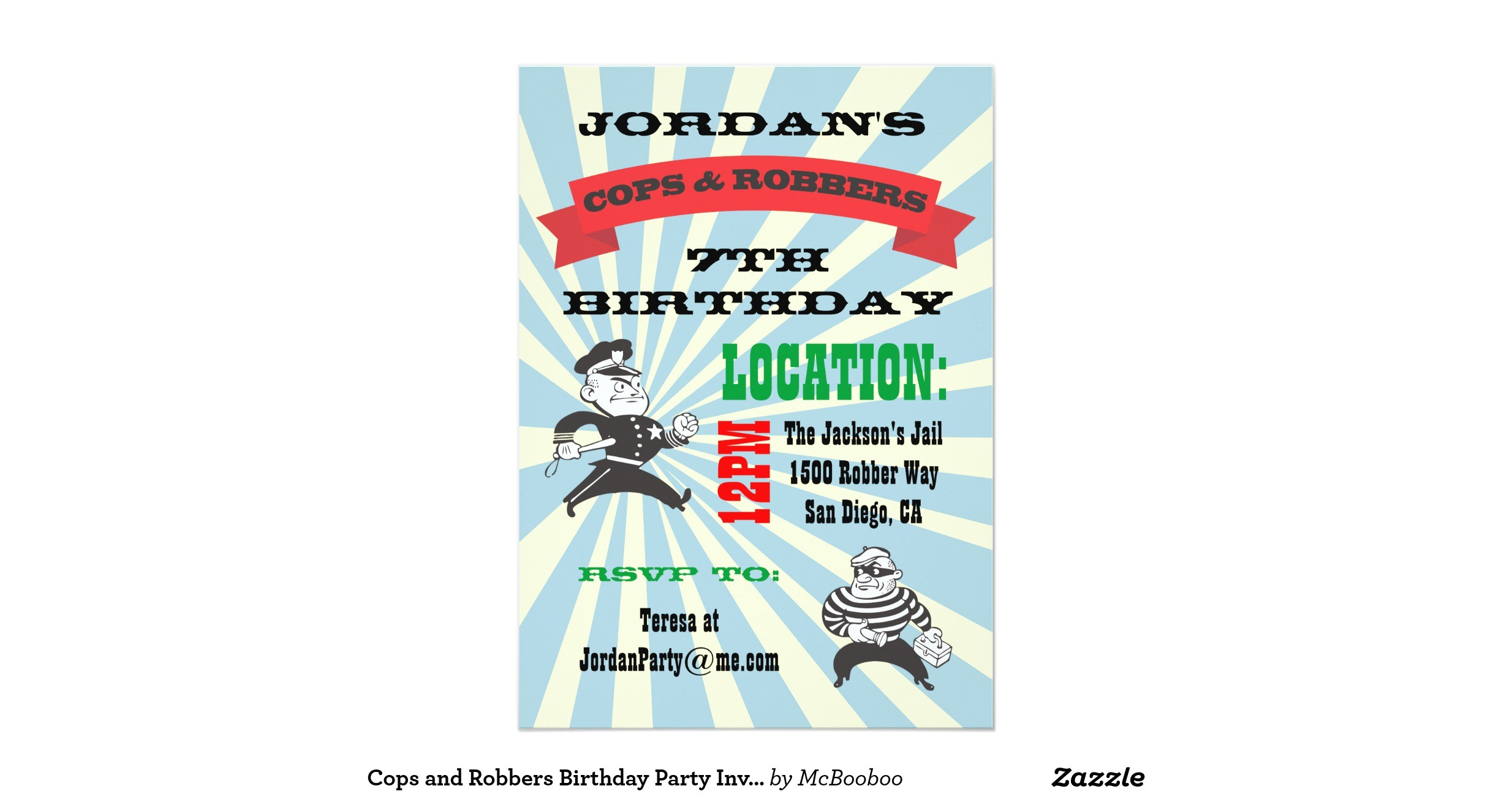 cops and robbers birthday party invitation 161455853120834274