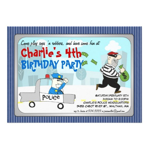 cops n robbers cartoon party invitation 161042158837850514