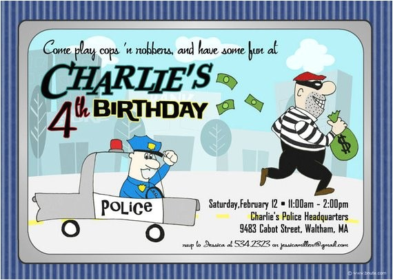 cops n robbers party invitation saturday