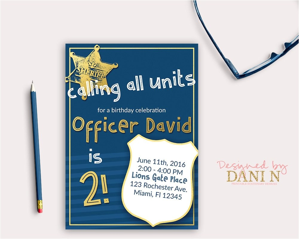 police birthday party invitation cops