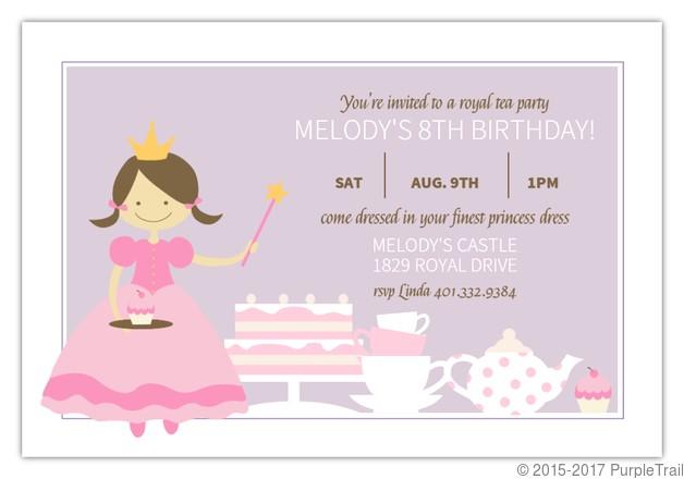 purple and pink princess tea party birthday invitation