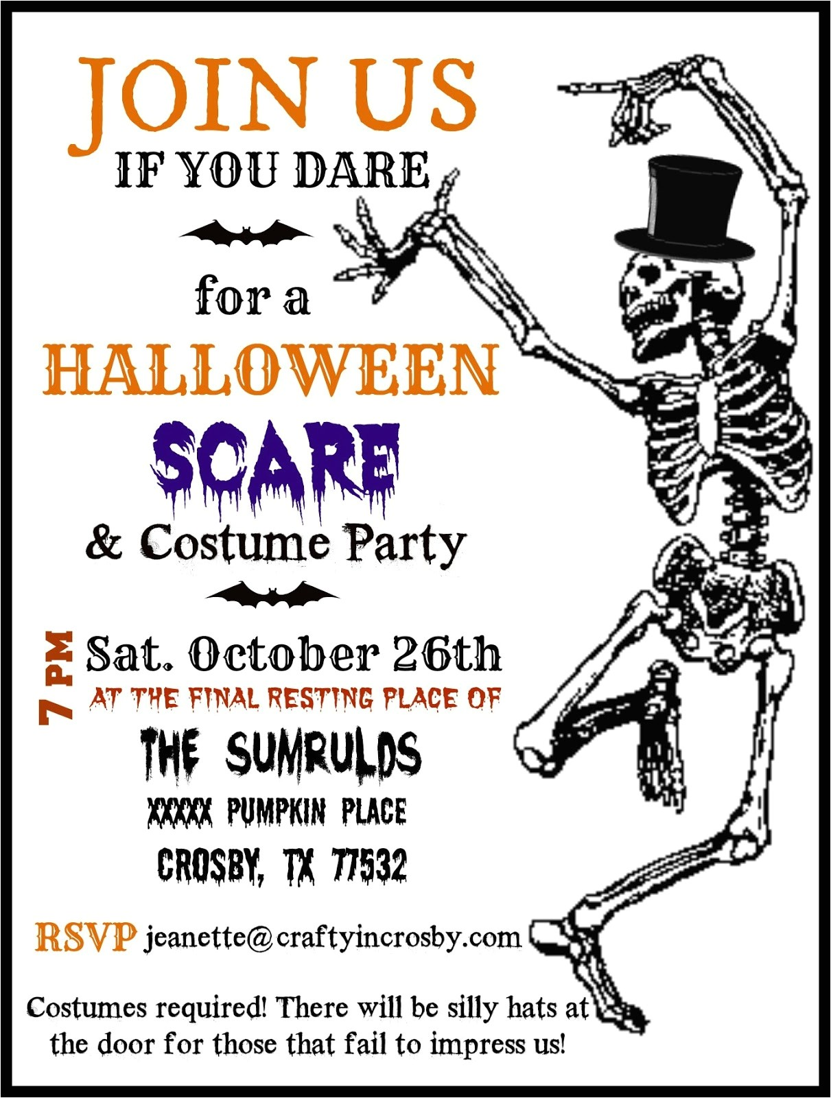 Costume Party Invitation Template Crafty In Crosby Halloween Party Invitations with Template