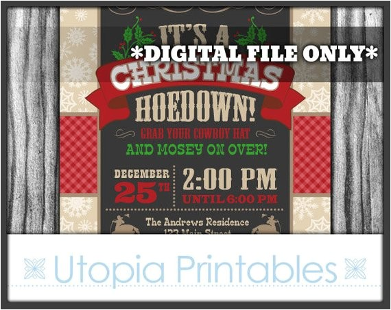 christmas hoedown invitation country western cowboy