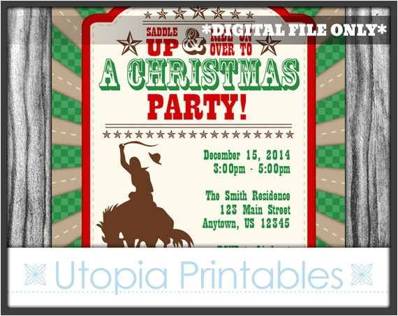 cowboy christmas invitation country western theme