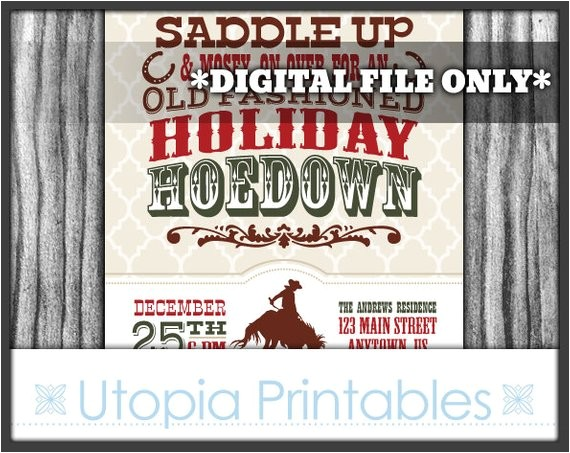 holiday hoedown christmas invitation country western