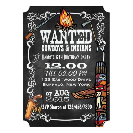 chalkboard cowboys indians theme party invite 161697670736070094