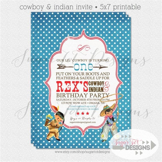 vintage cowboy and indian invitation