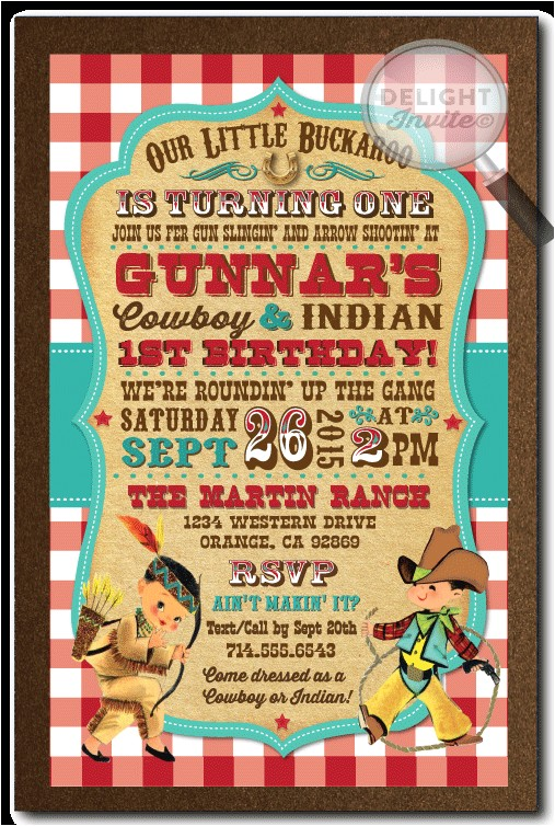 vintage cowboy and indians 1st birthday invitations p 3980