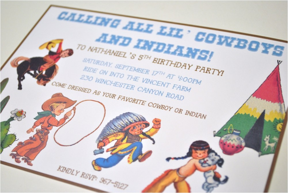 vintage cowboy and indian birthday