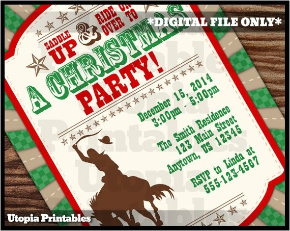 cowboy christmas invitation country