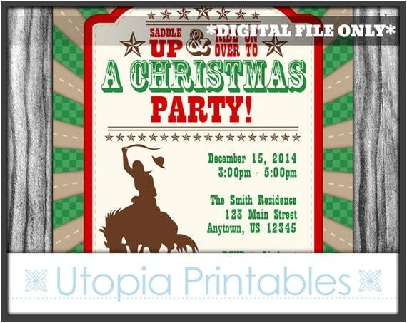 cowboy christmas invitation country western theme