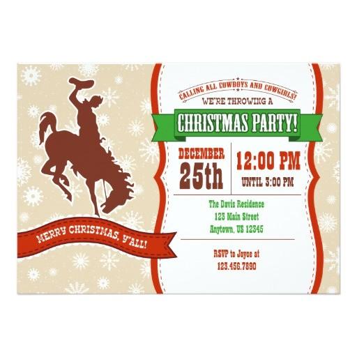 cowboy christmas party invitation 256271169115117501