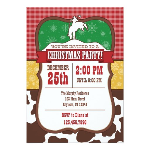 cowboy christmas party invitation 256085222420959857