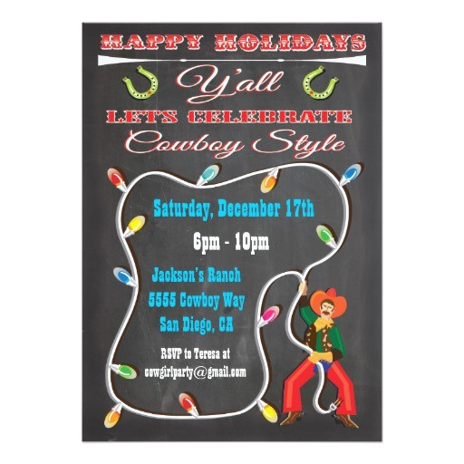 western cowboy christmas party invitations 161954327701827647