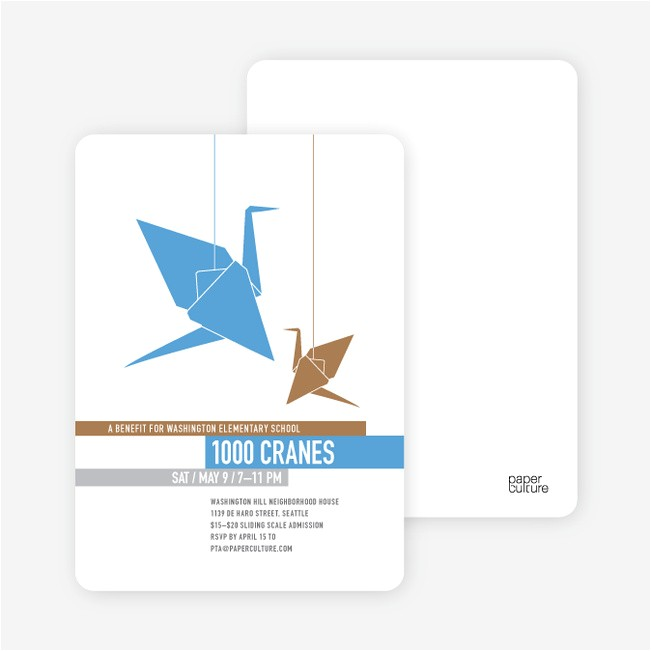 1000 cranes party invitations p 5893