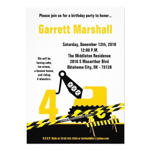 5x7 construction dozer crane birthday invitation 161779902142992814