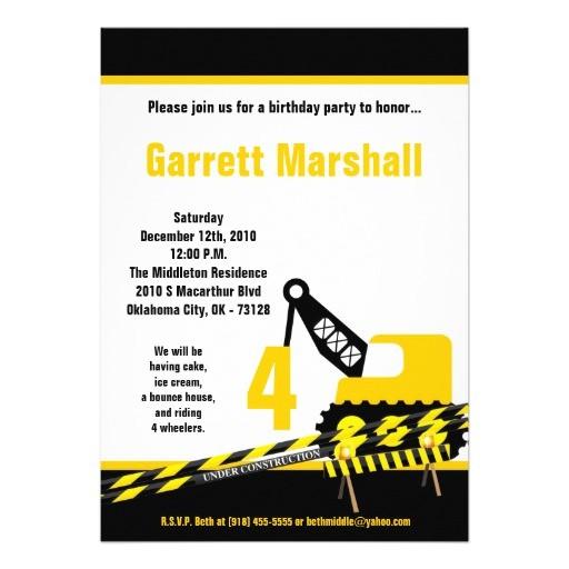 5x7 construction dozer crane birthday invitation 161200987890487137
