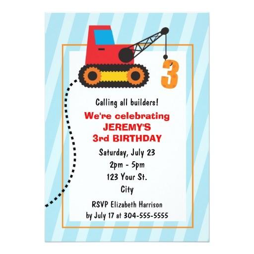 construction crane 3rd birthday invitation 161004415292010676