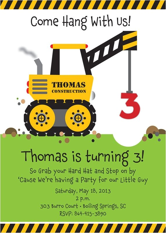 Crane Party Invitations Crane Construction Truck Birthday Party Invitation by