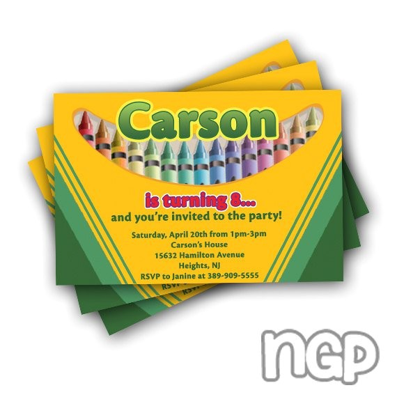 12 crayola crayon birthday invitations
