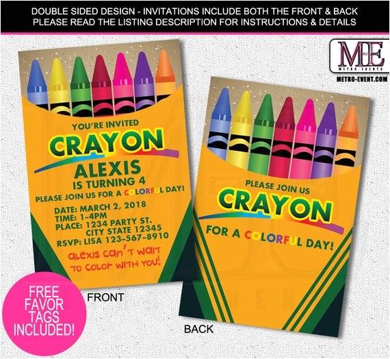 crayola crayon birthday invitation crayon invitecrayon