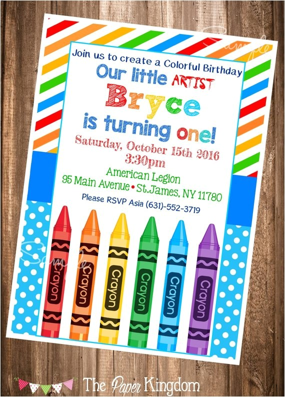crayon birthday invitation painting party birthday