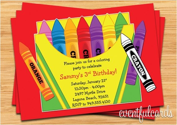 crayon birthday party invitation for