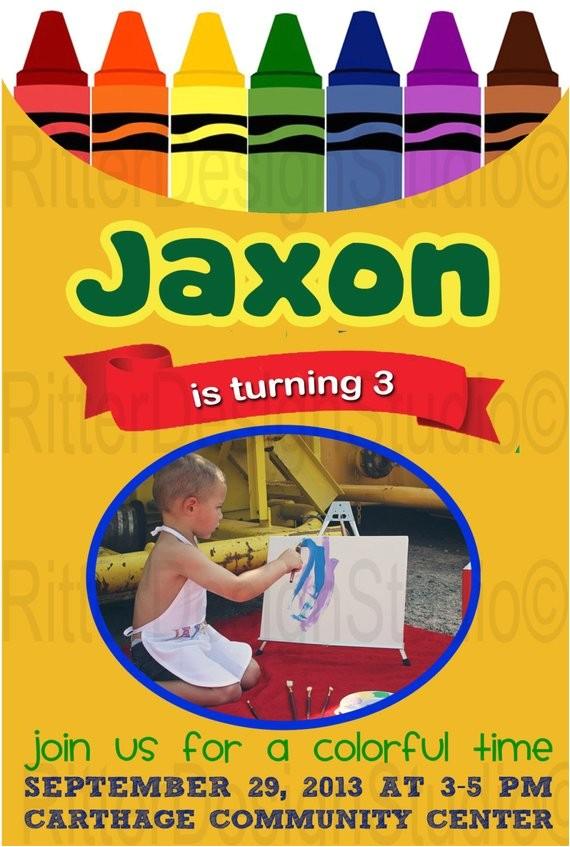 crayon crayola art birthday invitation