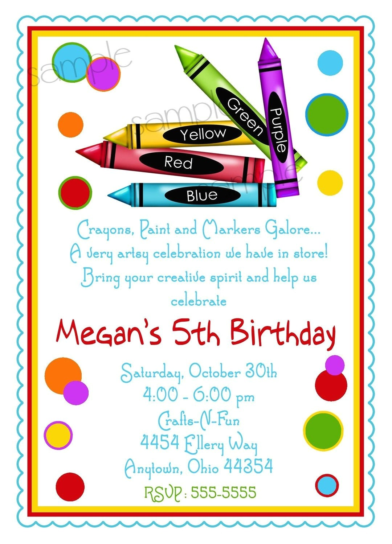 art party invitations crayon invitations