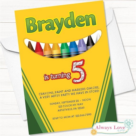 crayola crayon birthday invitation