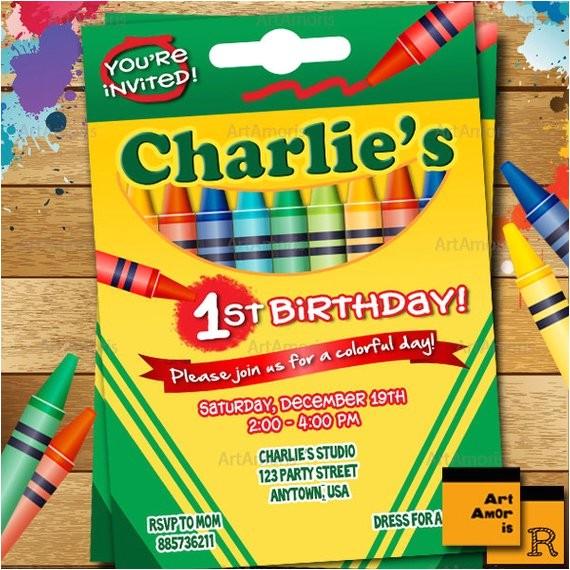 crayon birthday invitation crayon party