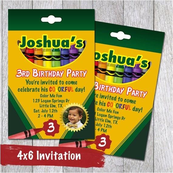 crayon box printable party invitations
