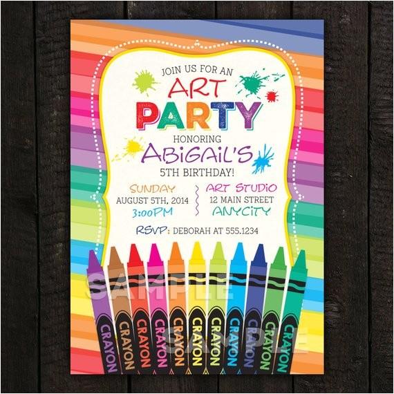 crayon invitation art invitation paint