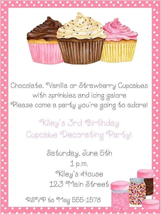 birthday party cupcake invitation
