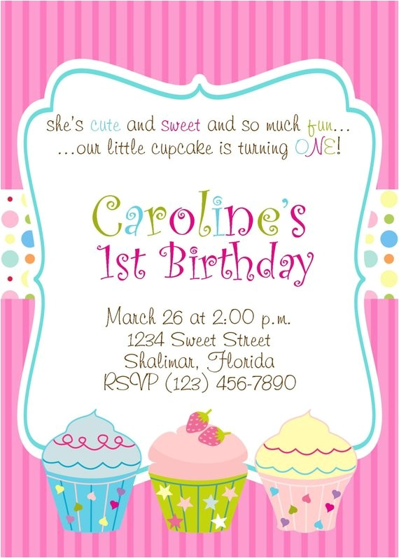 cupcake 5x7 printable party invitation