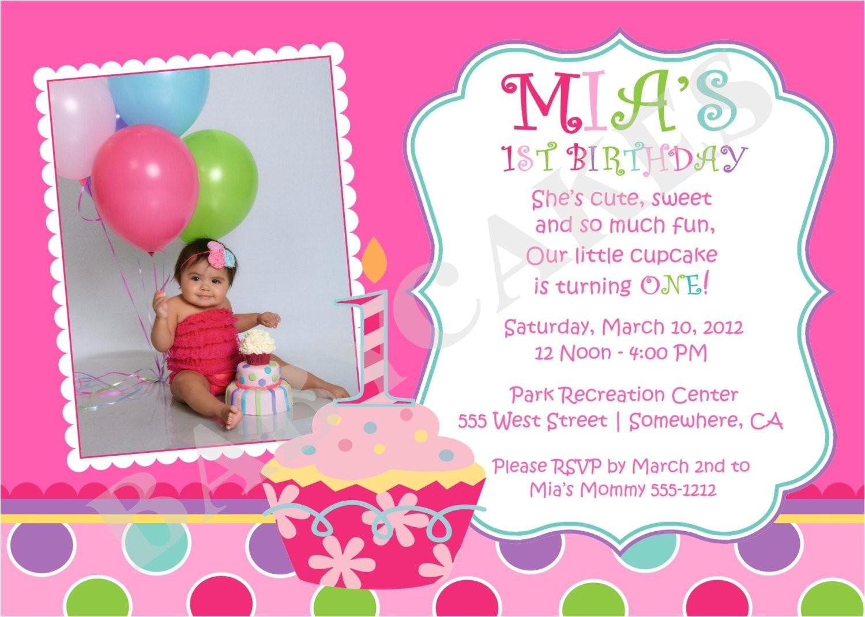 sweet little cupcake birthday invitation
