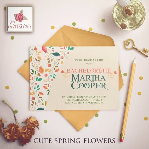 cute spring flowers bachelorette party invitations