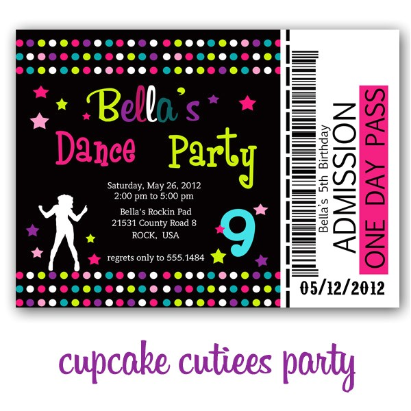 dance party invites and printable party