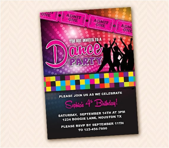 custom dance birthday party invitation