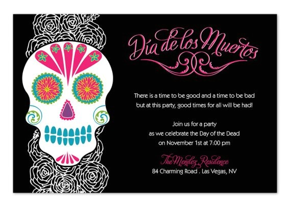 day of the dead party invitations 3