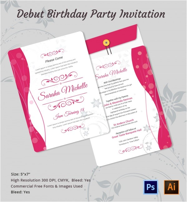 debut invitation template
